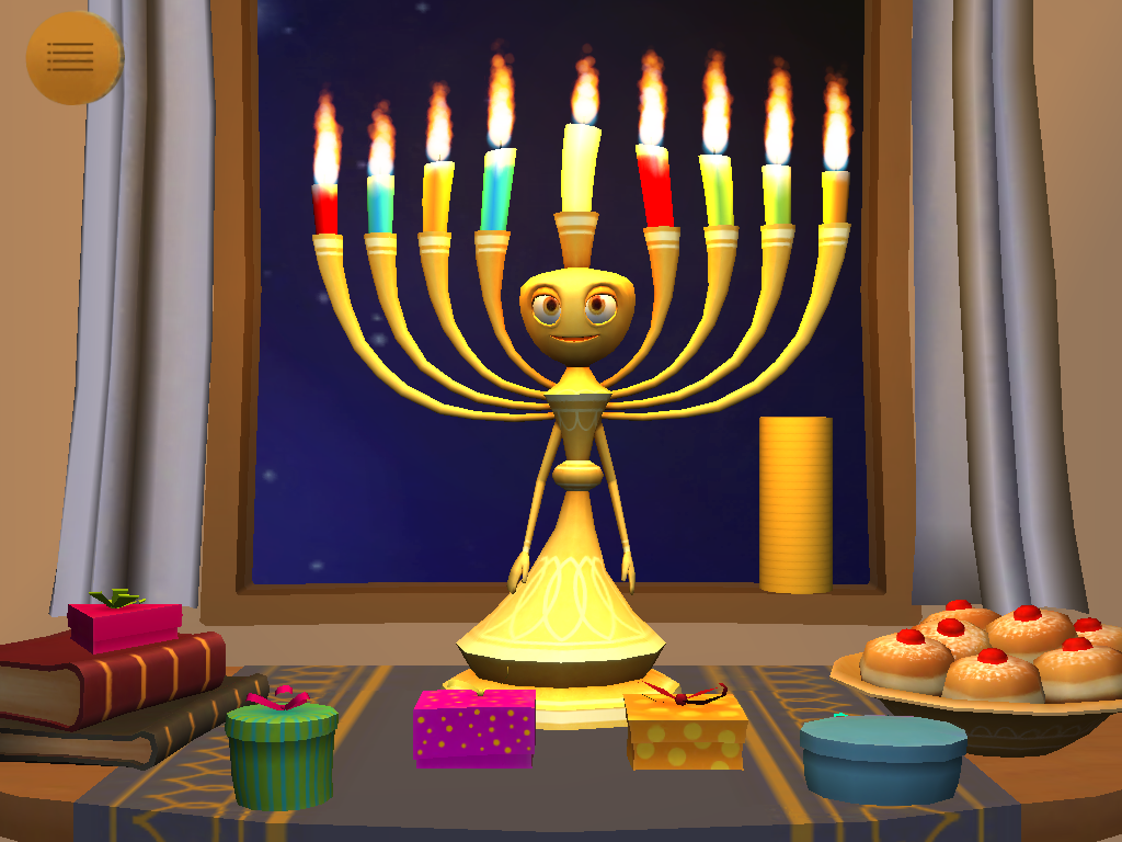 My Menorah Jewish Interactive Lighting Diagram And Spinner Dreidel Placing Candles Song Index All Lit Presents